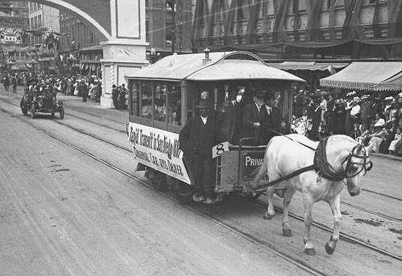 Rapid Transit in San Diego, 1886 Original Car and Driver Panama California Exposition Ground breaking parade, 1911