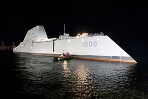 USS Zumwalt DDG 1000 at night