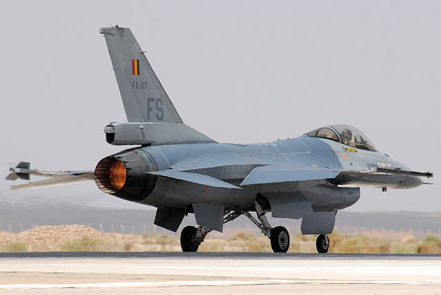 A Belgian F 16 Fighting Falcon prepares to take off from Mwaffaq Salti AB Jordan