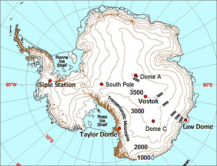 antartica ice core stations